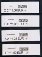 4 ATMS, IMPRIMANTE INTERMEC PC43D, Des APC, ECOPLI CC 1.06/ VERTE DD 1.08/  PRIORITAIRE AA 128/ INTERNATIONALE IP 1.50€. - 2010-... Viñetas De Franqueo Illustradas