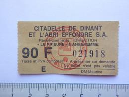 Ticket D'entrée - Citadelle De Dinant Et L'abri Effondré - (Attention : Trace De Charnière Au Dos) - Tickets - Entradas