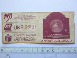 Ticket D'entrée - Planétarium De Torun - Pologne - (Attention : Trace De Charnière Au Dos) - Tickets - Entradas