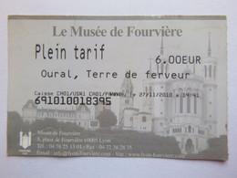 Ticket D'entrée - 2010 - Musée De Fourvière - Lyon - 69 Rhône - Tickets - Entradas