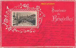 SOUVENIR De BRUXELLES - Carte Rouge Avec Petite Vue Du Marché Aux Poissons - Circulé 1902 - Other