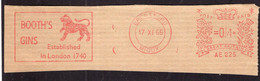 Great Britain - 1966 - Fragment Letter - Booth's Gins - A1RR2 - Covers & Documents