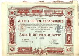 1891 RARE ACTION 500 FRS VOIES FERREES ECONOMIQUES PARIS B.E.V.SCANS - Ferrocarril & Tranvías