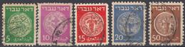 ISRAELE - 1948 - Lotto Di 5 Valori Usati: Yvert 2/6. - Oblitérés (sans Tabs)