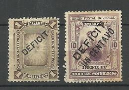 PERU 1896 & 1902, 2 Postage Due Stamps Portomarken OPT Deficit, Unused - Perú