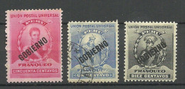 PERU 1896 Dienstmarken OPT Gobierno, 3 Stamps, Mint & Used - Perú