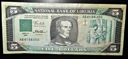A2 LIBERIA  BILLETS DU BANQUE BANKNOTES 5 DOLLARS 1989 - Liberia