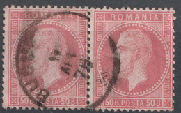 N°42 Paire Oblitérée Bucaresti (impression Fine De Paris) - 1858-1880 Moldavia & Principality