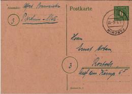! 3.1.1946 Ganzsache P6d, Stempel Parchim, Mecklenburg N. Rostock - Sovjetzone