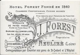 HOTEL FOREST Fondé En 1840 - J. FOREST  Propriétaire - NEULIZE  - Spécialité De Pâtés Froids .......................... - Cartes De Visite