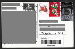 USA Postcard With Moon Space + Christmas & Fruit Stamps Sent To Peru - Cartas