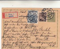 Brno To Wien Cartolina Intero Postale Raccomandato 1939 - Briefe U. Dokumente