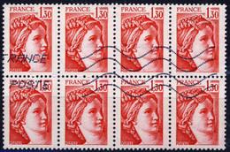 2059  BLOC De 8 SABINE Rouge à 1,30 OBLITERES   ANNEE 1979 - Oblitérés