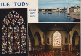29 ILE TUDY Eglise, Maîtresse-vitre De Maurice Rocher ; Voiliers, Canots, Vitraux 3 Vues - Ile Tudy