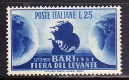 ITALIA REPUBBLICA ITALY REPUBLIC 1951 FIERA DEL LEVANTE DI BARI LIRE 20 MNH BEN CENTRATO - 1946-60: Mint/hinged
