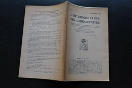 L'INTERMEDIAIRE DES GENEALOGISTES 54 1954 Généalogie Héraldique Epitaphier Du Canton Wavre DELLE LOYE Armes Lions D'or - Storia