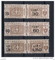 REGNO:  1923/25  PACCHI  POSTALI  SOPRASTAMPATI  -  3  VAL. N. -  SASS. 20/22 - Paketmarken
