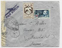 AEF FRANCE LIBRE 1FR+10FR LETTRE COVER AVION GARNOUT 22 FEVR 1945 TO SUISSE CENSURE LYY + CAMEROUN - Lettres & Documents