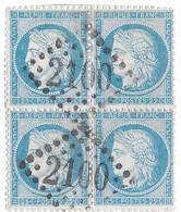 TIMBRES N° 60/1; CARRÉ 91/92 . 101/102  A2 ; Léger Clair; Bien Centrés ; RARE TB - 1871-1875 Ceres