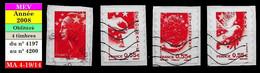Timbre Marianne Et Les Valeurs De L'Europe Oblitéré Adhésif N° 4197-4198-4199-4200 - 2008-13 Marianne De Beaujard