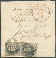 N°6(paire) - 10 Centimes Médaillons Obl. P.116 Sur Lettre Avec Contenu De THOUROUT Le 17 Juillet 1856 + Boîte V De HANDZ - 1851-1857 Medallions (6/8)