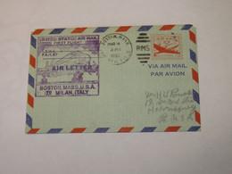 USA First Flight Cover To Italy Boston - Milano 1950 - Sin Clasificación
