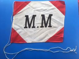 ⭐Fanion Compagnie Messageries Maritimes-☛Support Original Bois Laqué-☛Transport-Bateaux-Marine-Mer-Navigation Paquebot - Bateaux