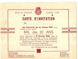 VOIRON .38 . INVITATION CONSCRITS CLASSE 1938 . BAL DES 20 ANS - Tickets - Entradas