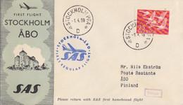 Suéde, 1° Vol Vers Äbo Par SAS Obl. Stockholm PFA Le 1/4/59 Sur N° 409, Au Dos Turku Äbo 1/4/59 - Briefe U. Dokumente