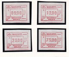B01-355  4 Vignettes ATM 60 Relifil 85 9F 12F 23F 75F + 3 Enveloppes FDC Va 9F 12F 23F Brussel 1000 Bruxelles 13-05-1985 - Postage Labels