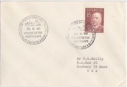 Suéde, Lettre Obl. (Croisière Au Cap-Nord) MS Gripsholm Le 30/6/60 Sur N° 444 (Arrhenius) - Briefe U. Dokumente