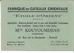 "Gateaux Orientaux. ""Etoile D'Orient"". KOUYOUMDJIAN. PARIS 5e - Visitenkarten"