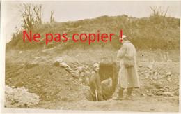 PHOTO FRANCAISE - CREUSEMENT D'UN ABRI A CHUIGNOLLES PRES DE PROYART - CHUIGNES SOMME - GUERRE 1914 1918 - 1914-18