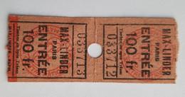 2 Tickets Billets Cinéma Max-Linder Paris - Années 1940 - Tickets - Entradas