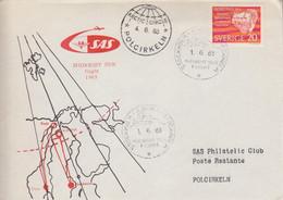 Suéde, Lettre (Midnight Sun Flight) Obl. Stockholm Le 1/6/63 Sur N° 488 (Röntgen) + Arctic Circle Le 4/6/63 - Briefe U. Dokumente