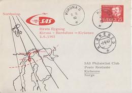 Suéde, Lettre (vol Kiruna-Kirkenes) Obl. Kiruna Le 2/6/63 Sur N° 499 (Mommsen) + Kirkenes Le 2/6/63 - Briefe U. Dokumente