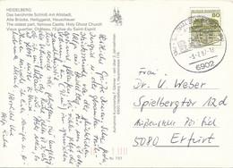 BRD / Bund Sandhausen Baden SST 1987 25 Jahre Wappen Rathaus Mi. 1140 Schloss Wilhelmsthal - Postkarte Nach DDR - Cartas