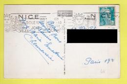 SUR CARTE-POSTALE / TP 810 MARIANNE DE GANDON OBL. 1 -10 1951 FLAMME : NICE SOLEIL ET JOIE - Briefe U. Dokumente