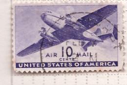 PIA  - STATI UNITI : 1941-44 - Francobollo Di Posta Aera - Bimotore - (Yv P.A. 28) - 2a. 1941-1960 Usados