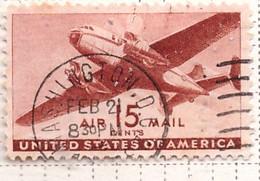 PIA  - STATI UNITI : 1941-44 - Francobollo Di Posta Aera - Bimotore - (Yv P.A. 29) - 2a. 1941-1960 Usados