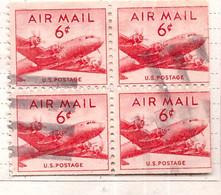 PIA  - STATI UNITI : 1947-49 - Francobollo Di Posta Aera - Aereo Douglas DC-4 - (Yv P.A. 34a X 4) - 2a. 1941-1960 Usados