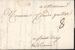 Ardennes 08 Marque Postale Rouge Sedan 19 X 4 Lenain N°6A Pour St Die En Lorraine Taxe Manuscrite 8 Lettre 5 8 1760 - 1701-1800: Precursors XVIII