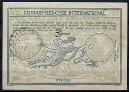 FRANCE 1927Ro8 ms. 3 / 2 Francs International Reply Coupon Reponse IAS IRC Antwortschein O BESANCON 25.07.27 - Coupons-réponse