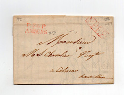 !!! MARQUE POSTALE PORT PAYE D'AMIENS 26 MM SUR LETTRE DE 1816 POUR COLMAR, AVEC TEXTE - 1801-1848: Vorläufer XIX