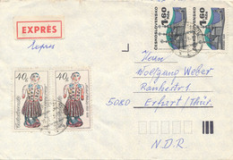 Tschechoslowakei Express - Brief Rokytnice TGST 1981 2x Mi. 2481 Keramik Frau + Mi. 1987 Paar Kirche In Saris - Cartas