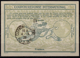 FRANCE 1928 Ro8 Ms. 3 / 2 FrancsInt. Reply Coupon Reponse IAS IRC Antwortschein O CLERMONT FERRAND PUY DE DOME 4.4.28 - Coupons-réponse