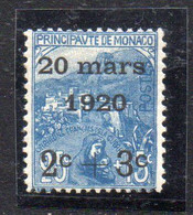 XP2222 - MONACO 1920 , Unificato N. 35 Nuovo ***  MNH. Matrimonio Carlotta - Unused Stamps