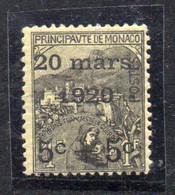 XP2241 - MONACO 1920 , Unificato N. 37 Nuovo ***  MNH. Matrimonio Carlotta - Unused Stamps