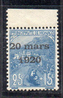 XP2247 - MONACO 1920 , Unificato N. 40 Nuovo ***  MNH. Matrimonio Carlotta - Unused Stamps