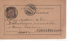 Portugal  Stationery  , MADEIRA  FUNCHAL , D. Carlos I  20 Réis  , Used , 1895 Funchal And Lausanne Postmark - Postal Stationery